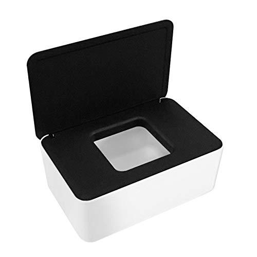 Feuchttücher-Box,Toilettenpapier Box,Kunststoff Feuchttücher Spender,Baby Feuchttücherbox,Baby Tücher Fall,Tissue Aufbewahrungskoffer,Taschentuchhalter,Tücherbox,Serviettenbox Schwarzer weiße Box