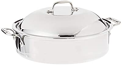 All-Clad 4515 Stainless Steel 3-Ply Bonded Dishwasher Safe French Braiser with Rack Cookware, 6-Quart, Silver