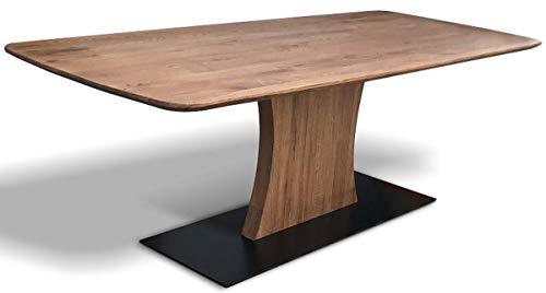 Casa Padrino Eichenholz Esstisch mit Metallfuß - Verschiedene Farben & Größen - Rustikaler Massivholz Küchentisch - Esszimmer Möbel, Tische Grösse:200 x 100 cm, Holzfarbe:Old Bassano