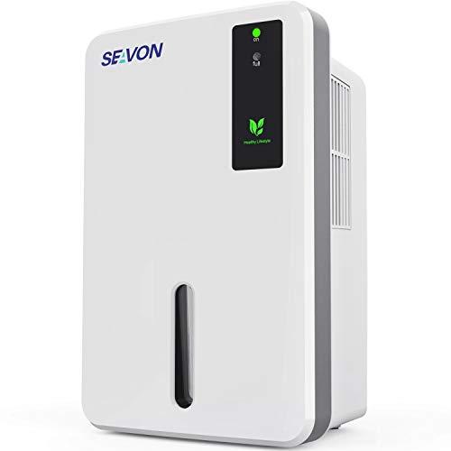 SEAVON 1500ml Dehumidifier, Portable and Compact Dehumidifiers for 2500 Cubic Feet Home, Basements, Bathroom, Bedroom, RV, Wardrobe, Auto Shut Off Quiet Dehumidifiers for Room