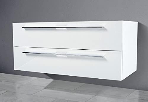 Intarbad ~ Waschtisch Unterschrank zu Villeroy & Boch Venticello Doppelwaschtisch 130cm Waschbeckenunterschrank Weiß Hochglanz Lack IB5214