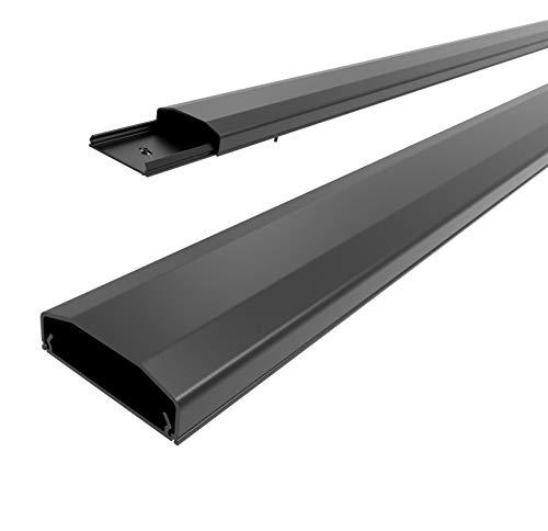 conecto Kabelkanal mit 3M Klebeband selbstklebend selbsthaftend zum Kleben oder Schrauben aus hochwertigem PVC (Länge 100cm, Breite 6cm, Höhe 2cm) schwarz