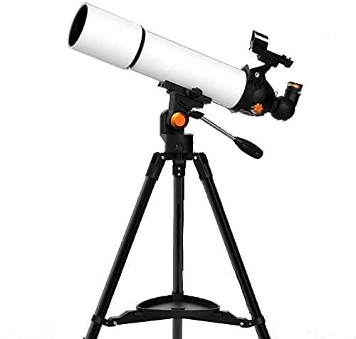 Hesolo Telescopios Telescopio Refractor de Viaje de 80 mm con trípode Ajustable, Adaptador para teléfono Inteligente, para observar Estrellas