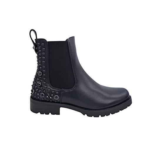 CucuFashion Botines para mujer - Botas Chelsea de moda con tachuelas, doble refuerzos para mujer con talón, botas de tobillo Goth - negro PU talla 3 (Ropa)