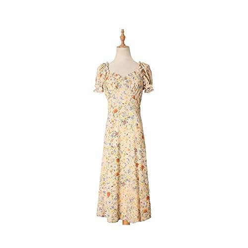 XJTJSM Sommer Frauen Midi Kleid, Vintage Elegante Blumengedruckte Kurzarm A-Linie Rüschen Strand, Koreanische Kleider...