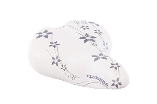 Selle Montegrappa FAHRRADSATTEL Damen MÄDCHEN Leder CITYSATTEL für 24-26 - 28 Zoll Fahrrad CITYBIKE CITYRAD CITYFAHRRAD - Happy Flowers XC061 - Made in Italy (Weiss grau)