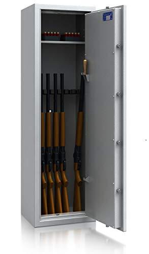 SafeHero Waffenschrank Klasse 0/N EN 1143-1 Secureo Hawk 7 XL | Schlüsselschloss | für 7 Langwaffen und Kurzwaffen inkl. Munition | 1500x450x350 | 145 kg