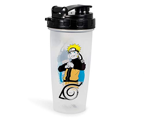 JUST FUNKY Naruto Shippuden Plastic Shaker Bottle   Portable Blender for Shakes and Smoothies   BPA-Free Drink Mixer Shaker Bottle with Blender Piece   Holds 20 Ounces