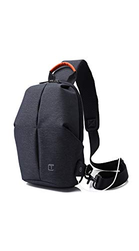 New Korean Man's Chest Bag Outdoor Sports Shoulder Bag Casual Messenger Bag Small Backpack Can Be Externally Charged,Blue
