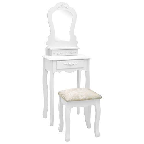 vidaXL Paulownia-Holz Schminktisch Set mit Hocker Spiegel Frisiertisch Kommode Kosmetiktisch Frisierkommode Schlafzimmer Weiß 50x59x136cm