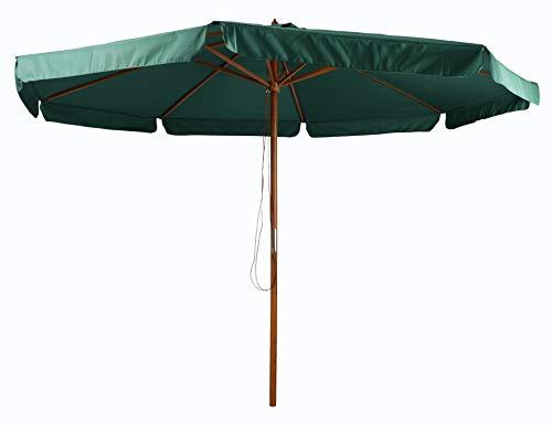 Pure Home & Garden Holz Sonnenschirm Legna 350 cm dunkelgrün, mit UV-Schutz 50 Plus und abnehmbarem Bezug