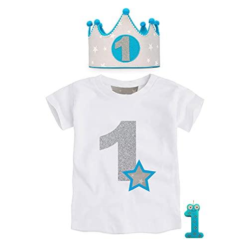 Kembilove Corona de Primer Cumpleaños con Camiseta – Adorable Conjunto de Cumpleaños de 1 Año para Niños y Niñas – Corona Ajustable Ideal para Fiestas de Cumpleaños Estrellas Gris-Azul