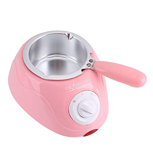 Electric Chocolate Melter,Durable Stainless Steel&Plastic Hot Chocolate Melting Pot Electric Fondue Melter Machine,Kitchen Tool with DIY Mould Set,US Plug,19 X 14.5 X 10cm (Color : Pink)