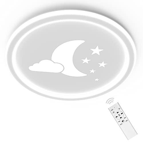 ANTEN Moonpie I 24W LED Lampara Infantil Techo I plafones para techo Con Mando A Distancia I Blanco I Plano de 4,5 cm I Ø 30cm I Regulable y Temperatura De Color Continuamente Regulable 3000-6500K
