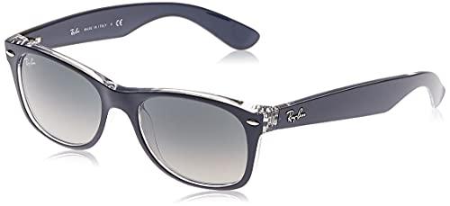 Ray-Ban New Wayfarer, Occhiali da sole, unisex ,Blu trasparente (blu trasparente), 55 mm