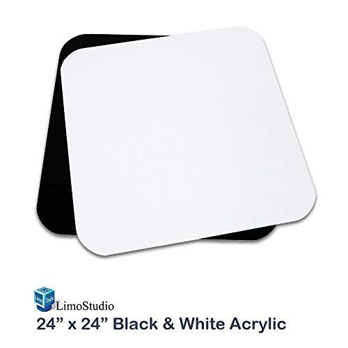 """LimoStudio 24"""" x 24"""" / 60cm x 60cm Black & White Acrylic Reflective Table Top Display Background Boards for Photography Shooting, AGG1826"""