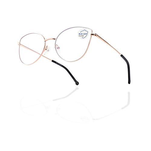 Cat Eye Blue Light Blocking Glasses Women,Trendy Metal Frame...