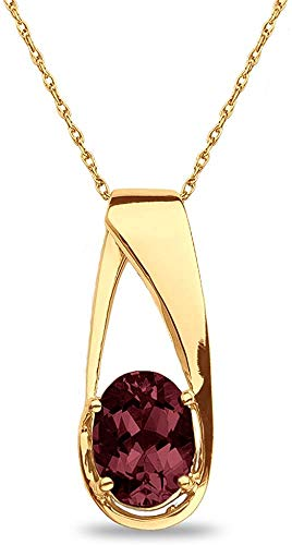 """The Diamond Deal Lab Created Oval 6.00MM Red Garnet Gemstone January Birthstone Heart Pendant Necklace Charm in 10k SOLID Yellow Gold With 18"""" Chain"""