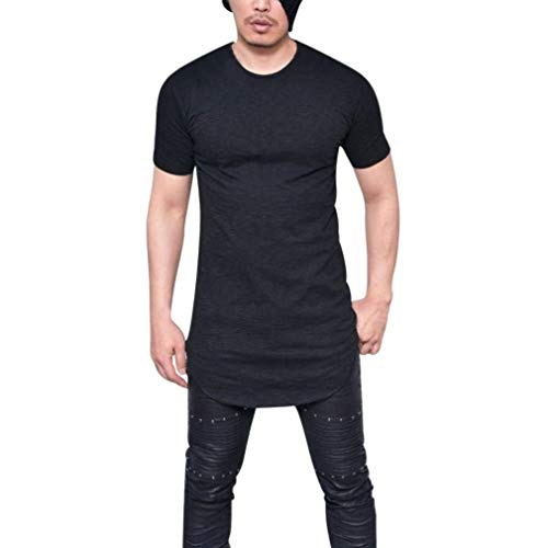 Camisa Mens Lhwy Hombres Hombres Slim Sportswear Fit Verano Camiseta O Cuello Manga Corta Cómoda Sudadera Respirable Color Sólido Long Casual Wear Tops Blusa (Color : Schwarz, Size : 2XL)
