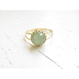 Dainty 14k Gold Filled Jade Gemstone Ring
