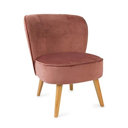 Butaca de diseño pequeña para Dormitorio Gatsby, Terciopelo, Color Rosa, cómoda, Mini sillón, Pata en Madera de Haya,59x66x75 cm.