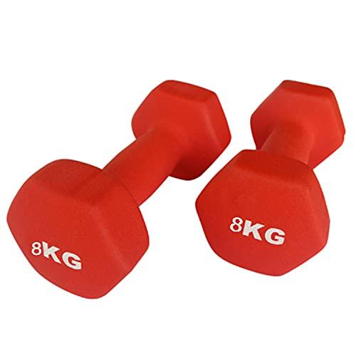 Juego de Dos Mancuernas de Neopreno Gimnasio y Entrenamiento en Casa Fitness Pilates Musculación Gym Aire Libre Pesas Hexagonales Mate 2/3 / 4/5 / 6 y 8 Kg (Rojo, 8 Kilos)
