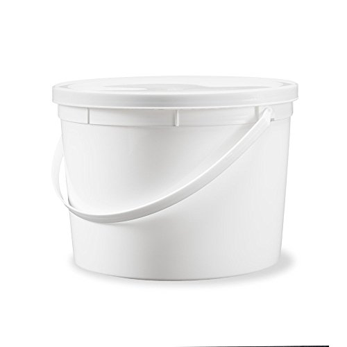 1 Gallon Food Safe Food Grade Round Plastic Bucket with Lid- White - 10 Pack of Buckets with Lids