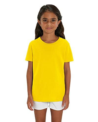 Hochwertiges Kinder T-Shirt aus 100% Bio-Baumwolle für Mädchen und Jungen. Eignet sich hervorragend zum bedrucken. (z.B.: mit Transfer-folien/Textilfolien),152/164,Gelb