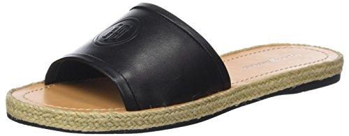 Tommy Hilfiger Damen Leather Flat Mule Peeptoe Sandalen, Schwarz (Black 990), 38 EU