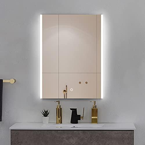 Sensor de luz LED iluminado con sensor de luz de baño con almohadilla de Demister, altavoz Bluetooth, espejo multifunción de tocador montado en la pared, espejo de regulable de ahorro de energía