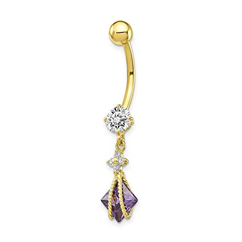 10k Yellow Gold Square Purple Amethyst Cubic Zirconia Cz Belly Button Rings Screw Navel Bars Body Piercing Naval Fine Jewelry For Women Mothers Day Gifts For Her