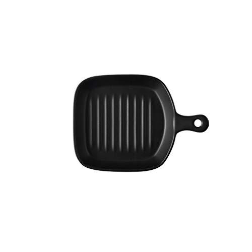 Plateau à pâtisserie en céramique Bol à fond plat Poêles à rôtir Assiette Chees Riz au four Poisson au four à micro-ondes Four à micro-ondes (Color : Black, Taille : B)