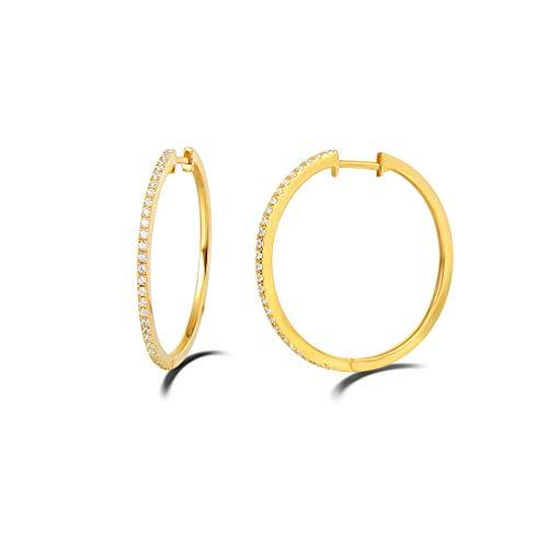 MittelGroße Creolen Ohrringe Huggie aus 925 Sterling Silber mit Gold Plattiert Zirkonia Rundschliff Luxus Schmuck für Damen Frauen Mädchen - Durchmesser: 30 mm
