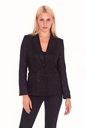 Unieke 21 vrouwen pailletten Tweed Blazer in zwart, 24 (Pack van 4)