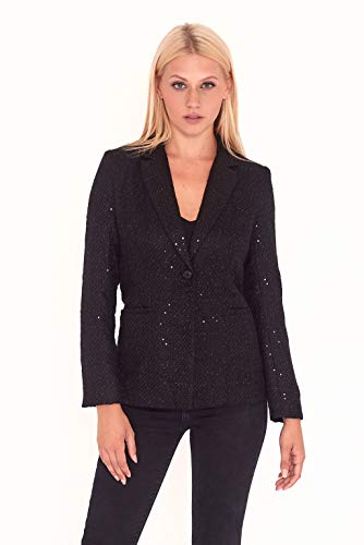 UNIQUE21 UAT90022 - Blazer tweed lentejuelas Negro
