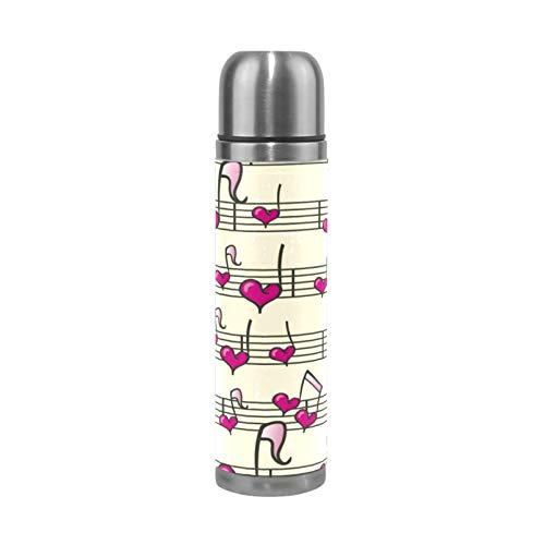 RELEESSS - Thermos sottovuoto, in acciaio inox, con note di cuore, isolante, per bevande calde e fredde, 500 ml