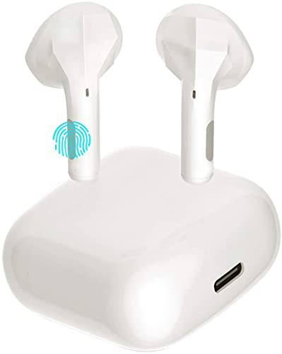 Waterproof Wireless Earbuds, Bluetooth 5.0 Wireless Earphones, Waterproof in-Ear Wireless Earphones, Earphones with Charging Box (White)