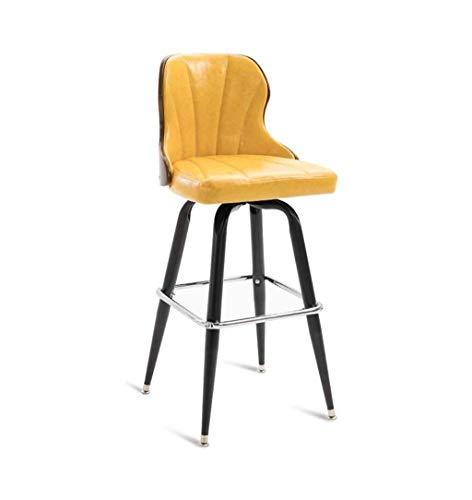 Barstuhl Barhocker Drehhocker Auf Rollen Iron Bar Stühle Retro Hoch Zähler Stuhl High Back Barhocker Küche Frühstück Dining Chair For Familie Und Business - Yellow Dining Chair