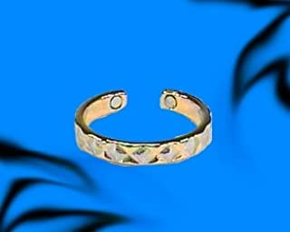 BillyTheTree Jewelry Two Tone Edged Design Magnetic Therapy Toe Ring - Adjustable for Men and Women