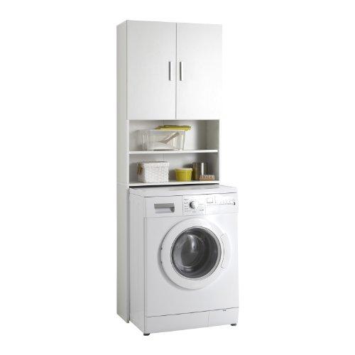 FMD Möbel L913-001 Olbia 2.0 Waschmaschinen,Trockner, WC-Überbau, Hauswirtschaftsschrank, Schrank mit Zwei Türen, Holz, Weiß, 64 x 26 x 190 cm