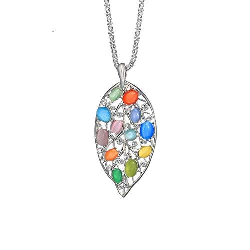 AISHIPING Collar De La Hoja De Piedra Colorida De La Vendimia Collar De La Personalidad del Encanto De La Joyería Larga