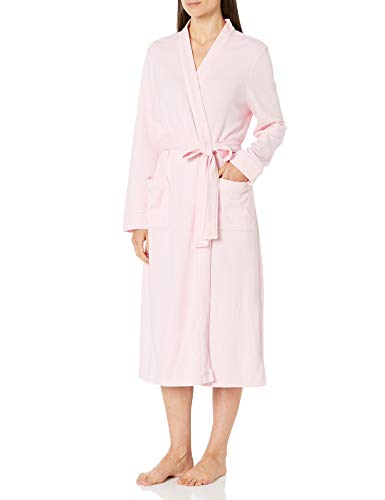 Amazon Essentials Lightweight Waffle Full-length Robe Bathrobe, Light Pink, L