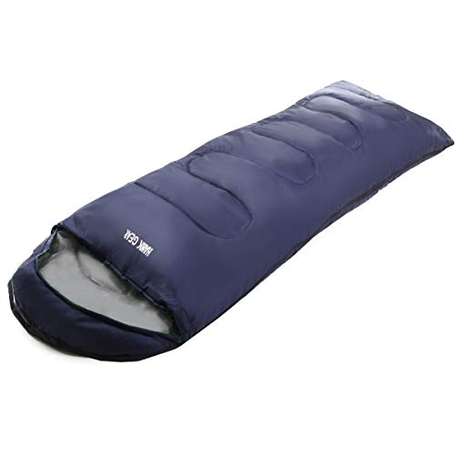 [HAWK GEAR(ホークギア)] 丸洗いできる寝袋 マミー型 シュラフ -15度耐寒 簡易防水 オールシーズン (ネイビー(軽量タイプ))