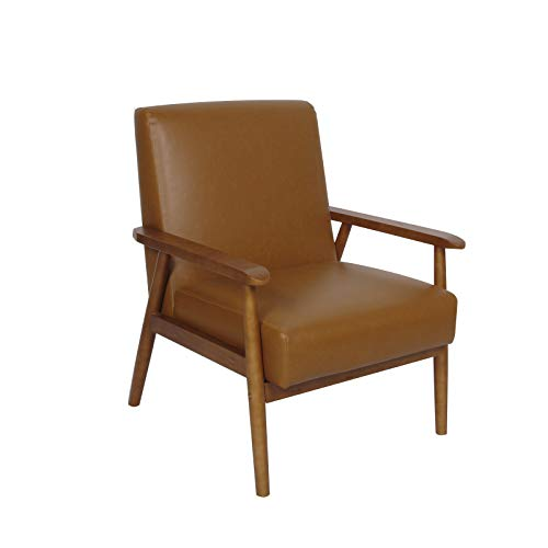 soges Armchair Dining Chair Accent Chair with Arms Reception Chair tub chair for Bedroom Dining room Living Room Office,Brown,S1-WH-5091