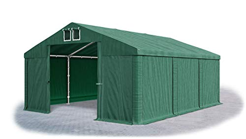 Das Company Lagerzelt 4x6m wasserdicht dunkelgrün Zelt 560g/m² PVC Plane hochwertig Zelthalle Summer SD