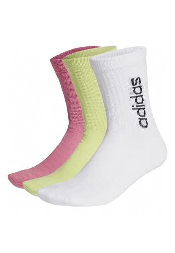 adidas Calcetines de cuello redondo, 3 unidades, blanco/amarillo/rosa, L