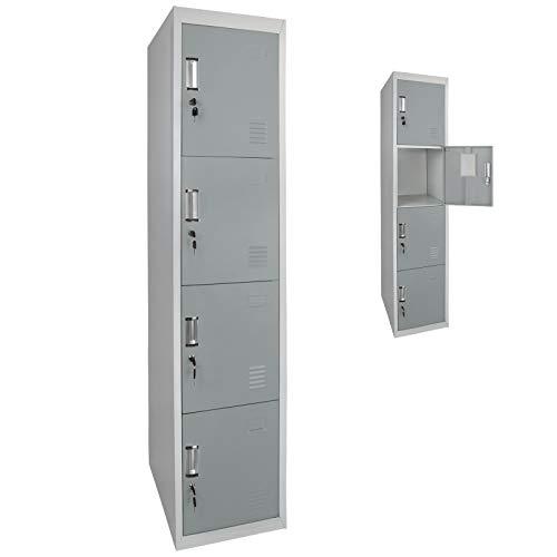 Spind Schließfachschrank Metallschrank Mehrzweckschrank 4 Abteile 180 x 38 x 45 cm verschiedene Türfarben, Farbe:Grau-Mittelgrau