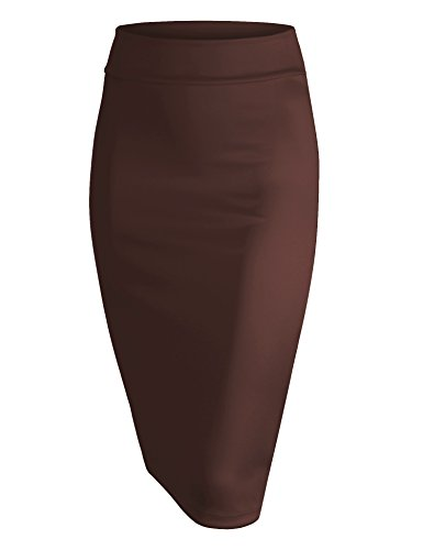 Made By Johnny WB700 Womens Scuba Midi Skirt XL Brown