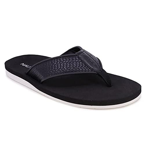 Nautica Men's Flip Flop Water Slippers Casual Beach Sandals-Ballast-Black-8