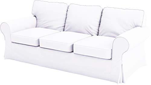Ektorp 3-Sitzer-Sofabezug aus Baumwolle ist maßgefertigter Schonbezug kompatibel mit IKEA Ektorp Sofabezug (weißes Flachs Baumwolle)